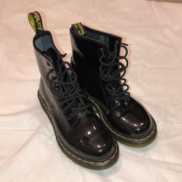 black patent dr martens size 6